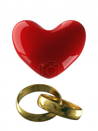 Heart with wedding rings on a white