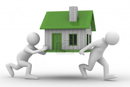 Photo for Two men carry house. Isolated 3D image - Royalty Free Image