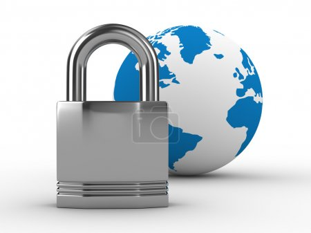 Photo for Lock and globe on white background. Isolated 3D image - Royalty Free Image