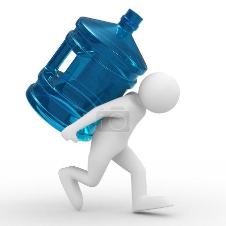 Photo pour Hommes portent la bouteille sur le dos. image 3d isolé - image libre de droit