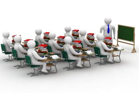Photo pour Leçon dans une classe. Image 3D isolée . - image libre de droit