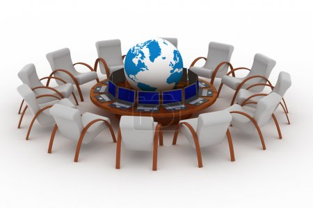 Photo for Twelve workplaces behind a round table. 3D image. - Royalty Free Image
