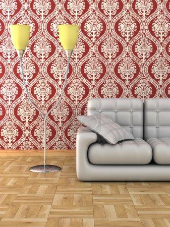 Floor lamp and sofa