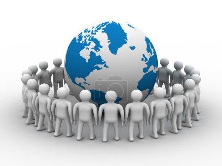 Group of standing round globe