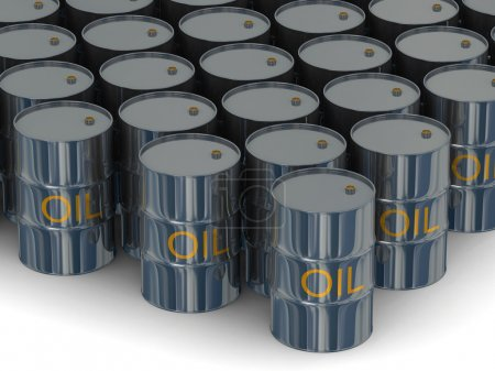 Warehouse of kegs with oil. 3D image