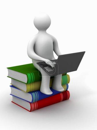 Photo pour Étudiant avec l'ordinateur portable assis sur des livres. Image 3D . - image libre de droit
