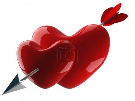 Photo pour Deux cœurs percés par une flèche. Image 3D . - image libre de droit