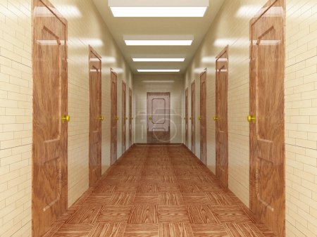 Photo for Corridor with a number of doors. 3D image. - Royalty Free Image