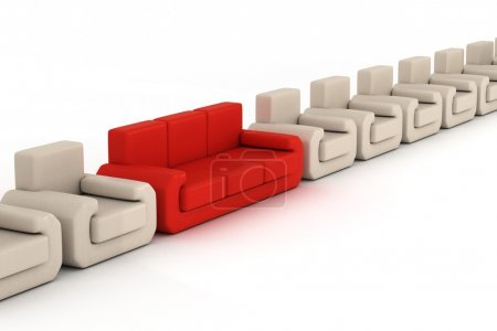 Row armchairs and red sofa