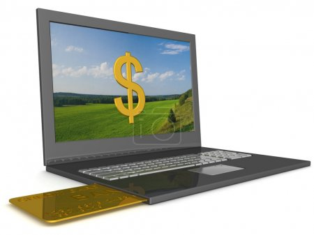 Opel laptop with credit-card. 3D image.