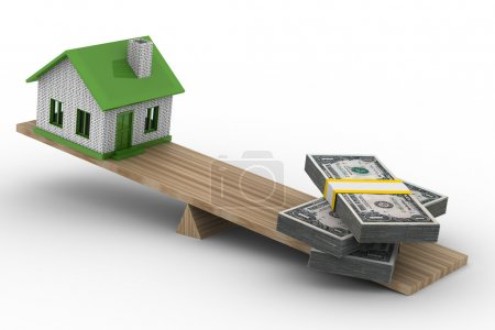 Photo for House and money on scales. Isolated 3D image - Royalty Free Image