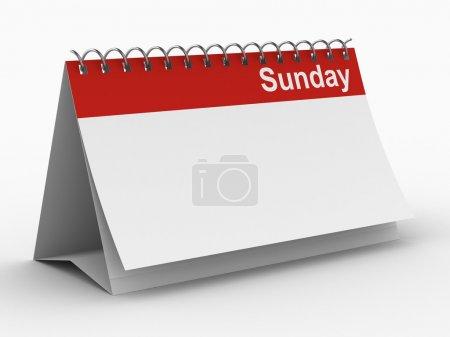 Calendar for sunday on white