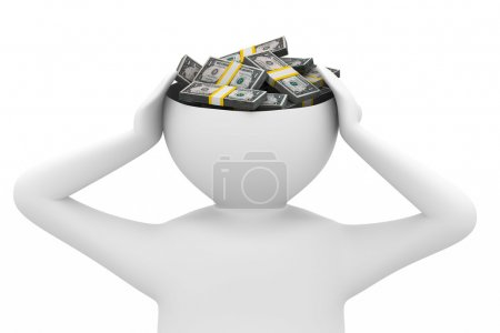 Photo for Businessman thinks of money. Isolated 3D image - Royalty Free Image