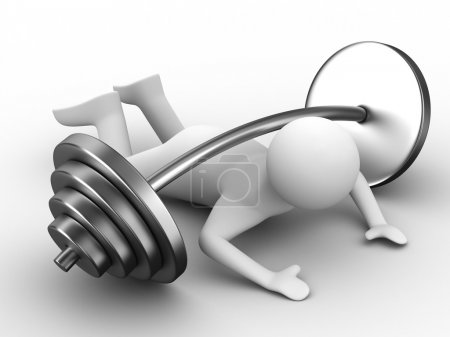 Weight-lifter pressed down barbell. Isolated 3D im...