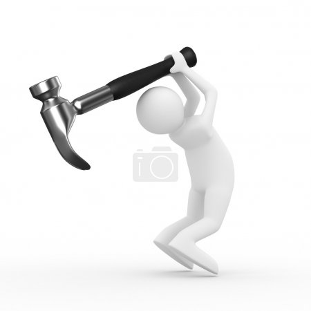 Man swings arm hammer on white