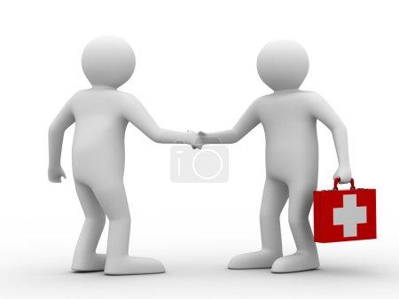 Photo pour Docteur et patient sur fond blanc. Image 3D isolée - image libre de droit