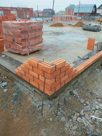 Construction of the brick building