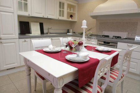Served table in interior of the kitchen