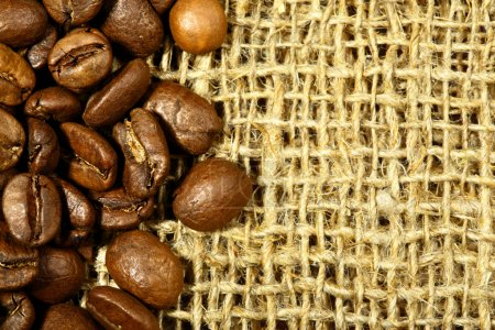Coffee beans on sacking