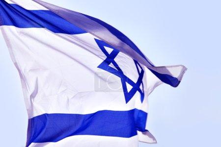 Photo pour Drapeau d'Israël sur le vent close-up - image libre de droit