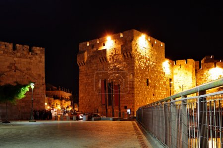 Yafo gate at night
