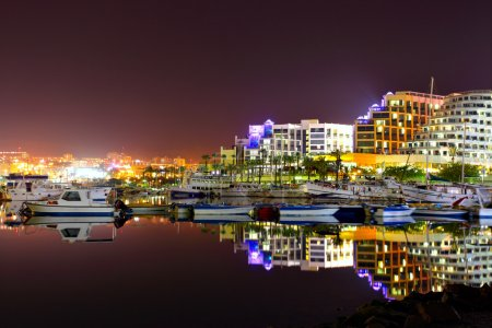 Photo for Hotels and yachts at night. Eilat. Israel. - Royalty Free Image