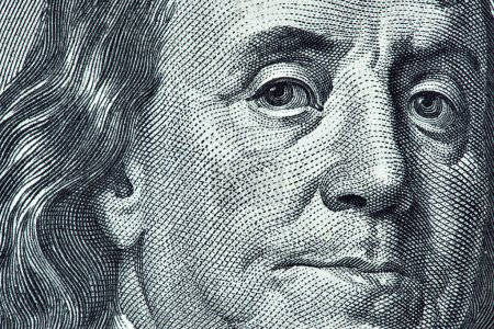 Photo for High definition Benjamin Franklin portrait from 100 dollars banknote - Royalty Free Image