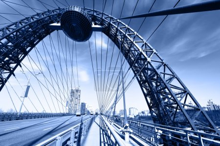 Photo for Modern suspension bridge toned in blue color. Moscow. Russia - Royalty Free Image