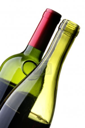 Photo for Two bottles of red wine isolated over white background - Royalty Free Image