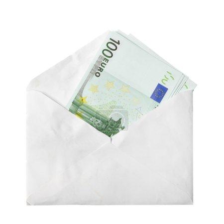 Photo pour Billets en euros en enveloppe isolé sur fond blanc - image libre de droit