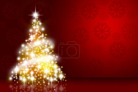 Photo for Christmas tree over deep red background with snowflakes - Royalty Free Image
