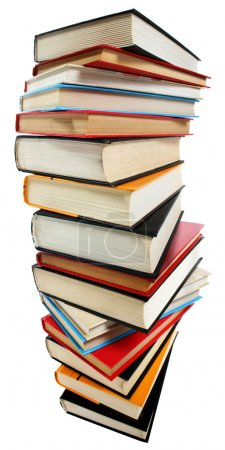 Photo pour Empilement de livres isolés sur fond blanc - image libre de droit