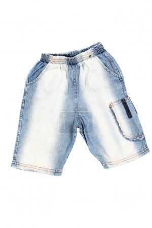 Photo for Children's wear - jean shorts isolated over white background - Royalty Free Image