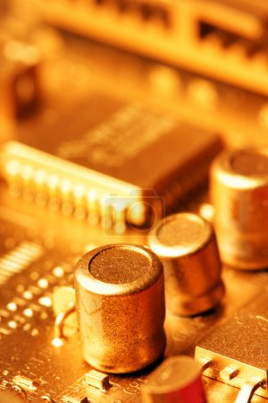 Photo for Gold circuit board close-up. Shallow DOF! - Royalty Free Image