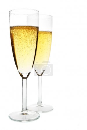 Photo for Two glasses of champagne isolated over white background - Royalty Free Image