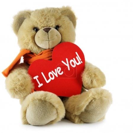 Teddy bear and big red heart with text