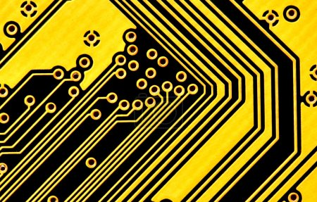Photo for Yellow circuit board macro, may be used as background - Royalty Free Image