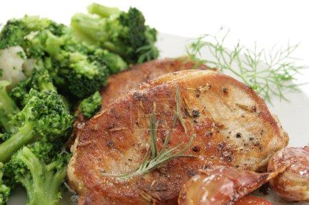 Roasted pork and broccoli