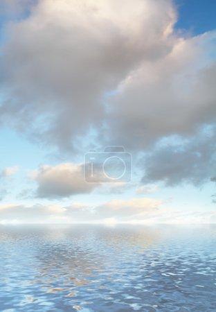Photo pour Nuages et son reflet dans l'eau - image libre de droit