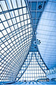 Abstract blue ceiling interior backgroun