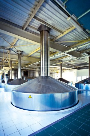 View to steel fermentation vat