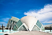 View to Hemisferic against Museum of Science, Valencia, Spain