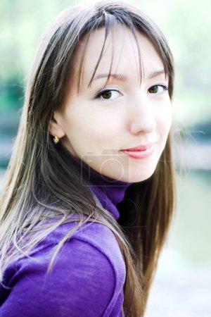 Photo for Brunette girl portrait in park - Royalty Free Image
