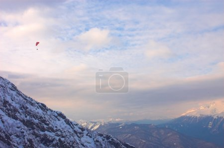 Paraglide in mountains, Red Polyana
