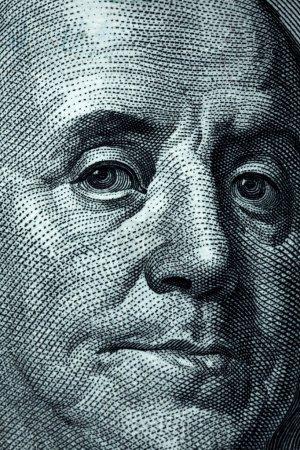 Photo pour Récolte de billets de cent dollars - Franklin portait - image libre de droit