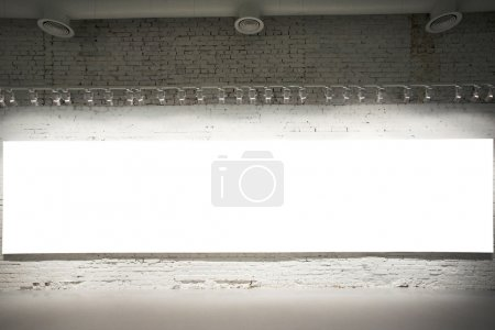 Photo for Empty white banner on exposition - Royalty Free Image
