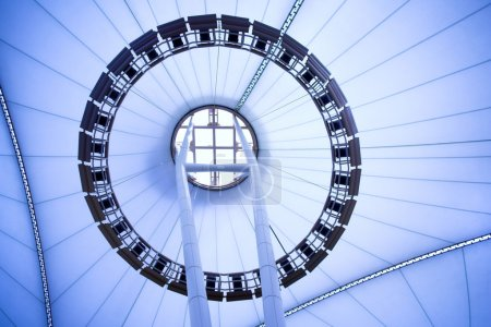 Photo for Blue unusual geometric ceiling of office building - Royalty Free Image