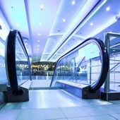 Enter to moving escalator