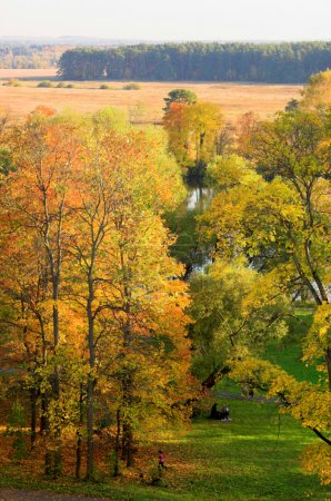 Autumn landscape in Moscow and river