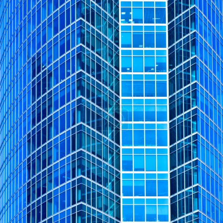 Photo for Abstract square crop of blue office skyscraper - Royalty Free Image